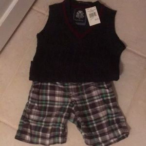 Boys sweater vest and shorts